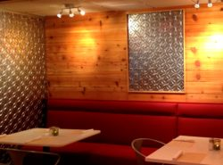Interior of restaurant with Fasade wall panels