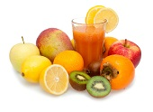 Fruit and glass of juice