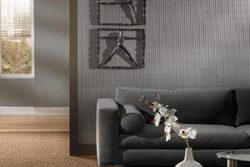 Living room with wall panels like wallpaper