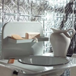 bathroom sink with Fasade backsplash