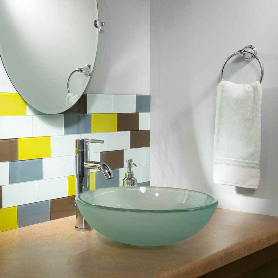Aspect glass subway tiles used in a bathroom remodel