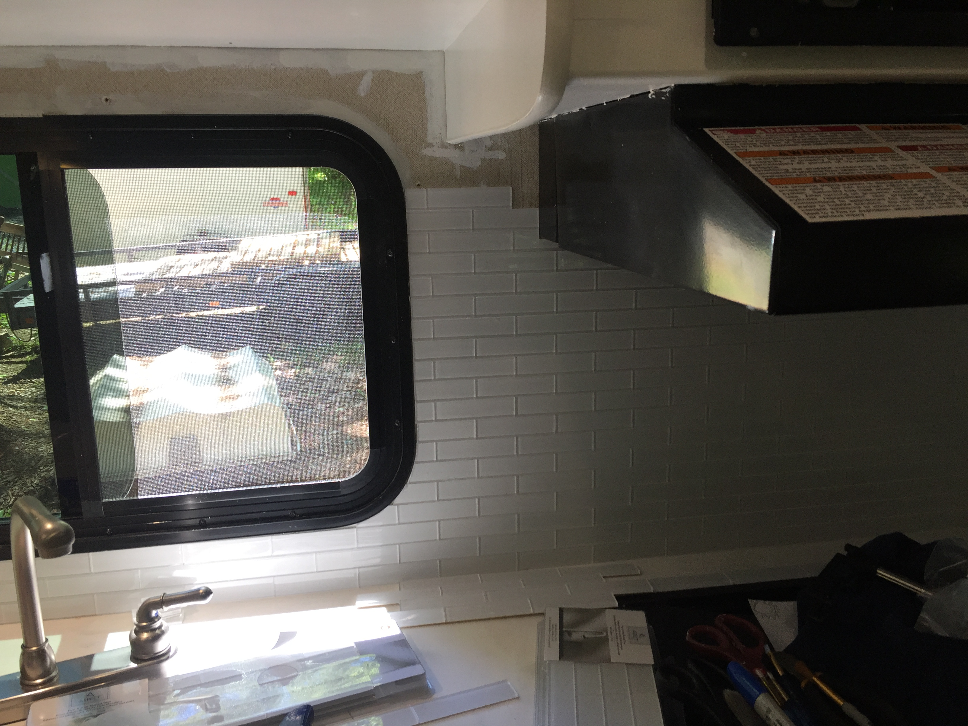 glass backsplash in RV