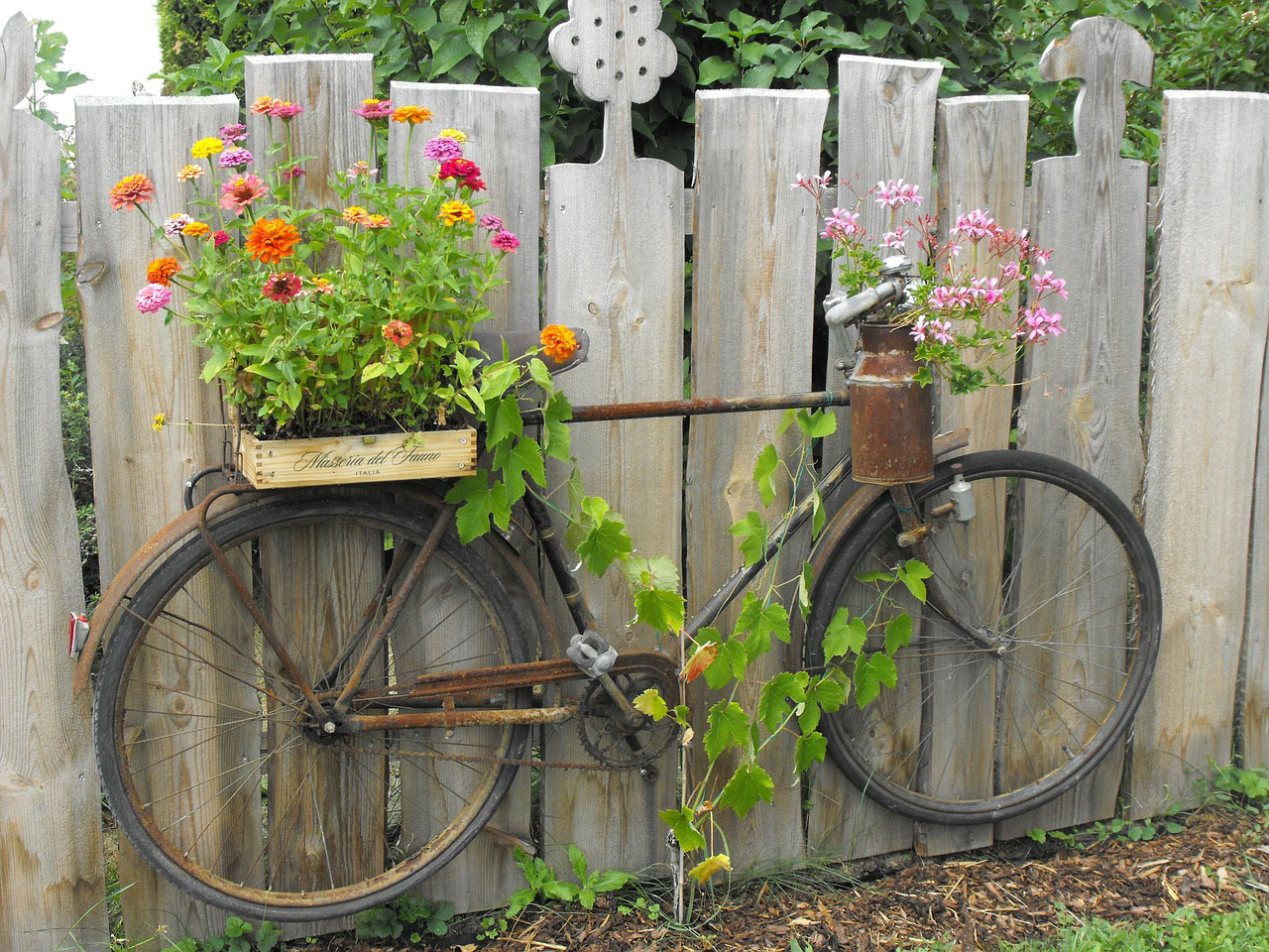 about bicycle with flowers in basket on fence